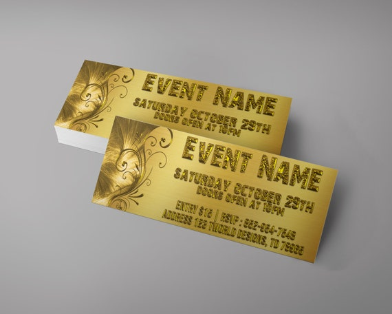 gold event tickets design wedding ticket gala tickets etsy