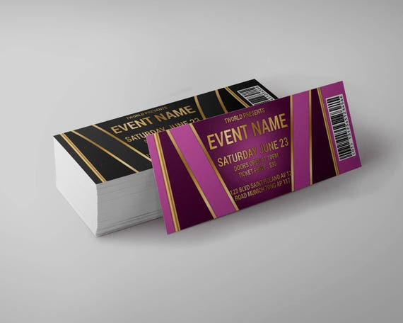 tickets template concert ticket gala ticket party ticket etsy