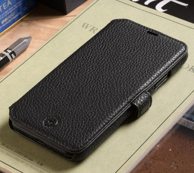 61f8b81222b0d Premium Genuine Leather Phone Wallet Case for Apple iPhone X
