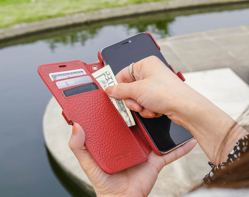 on sale c318a cd02a Apple iPhone Xr / iPhone 10r Genuine Leather Wallet Phone Case in Red  Pebble Grain Genuine Leather