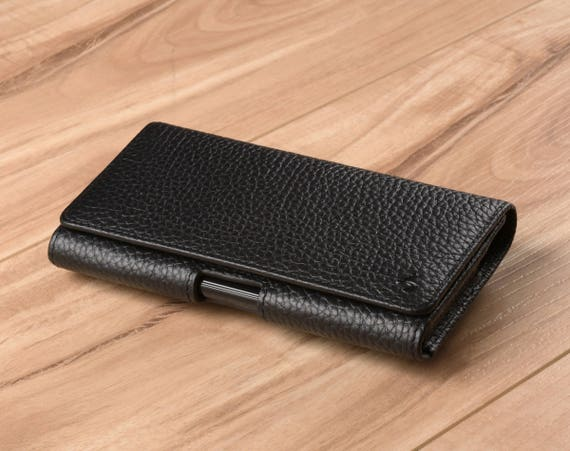 size 40 f7221 fdb1b Black Pebble Grain Genuine Leather Apple iPhone X Belt Clip Holster Phone  Case - Sized to Fit Apple iPhone 10 / iPhone X / Galaxy S10e