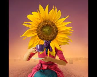 photography art print limited - photomontage - the sunflower digital art France