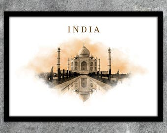 Poster poster modern Taj Mahal India print instant download A1 A2 A3 A4 A5 20 x 16-24 x 18-36 x 24 70 x 50 90 x 60 + US sizes