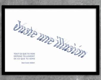 Poster poster Jean Louis Aubert just a 3D illusion instant download A1 A2 A3 A4 A5 20 x 16-24 x 18-36 x 24 70 x 50 90 x 60 + US sizes