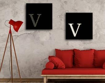 2 poster paintings alphabet letter V decorative wall instant download 5 X 5 8 X 8 10 X 10 12 X 12 15 X 15 16 X 16 18 X 18 20 X 20 30 X 30 50 X 50