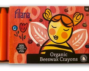 FILANA (12 Sticks) - Organic Beeswax Crayons - Paraffin-Free - Natural and Non-Toxic - Brilliant Colors - Handmade in the USA