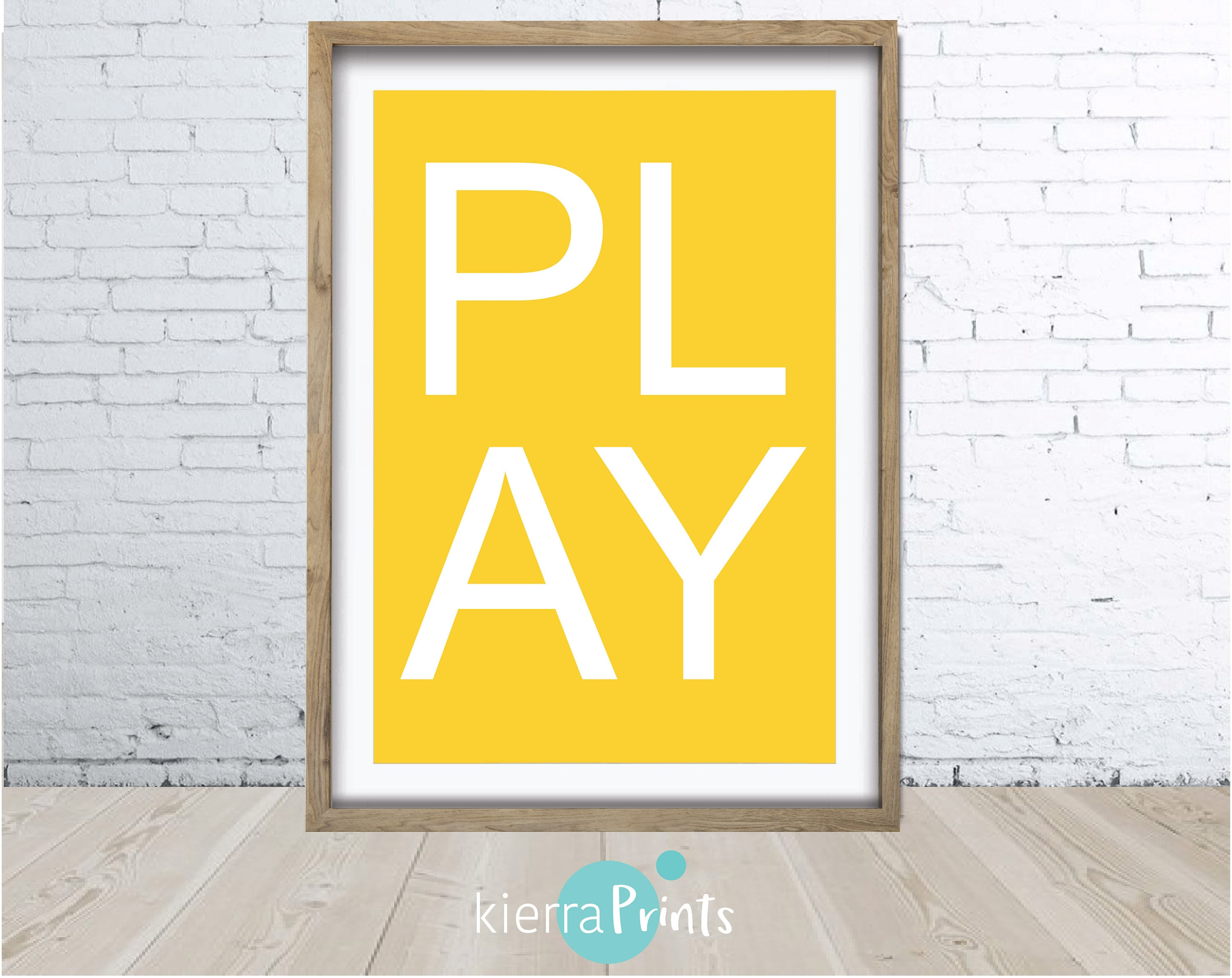 Play Print Wall Art Yellow Nursery Home Decor Modern Art | Etsy