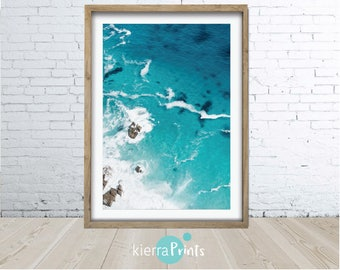 Ocean Print, Waves, Water, Coastal Wall Decor, Beach Art, Large Poster, Digital Download, Modern, Turquoise Blue