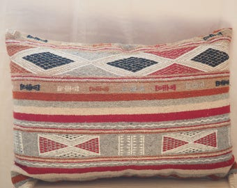 kilim pillow case / wool pillow / decorative kilim pillow /  bed pillow / colorful pillow / Front and back wool kilim / tribal boho ethnic