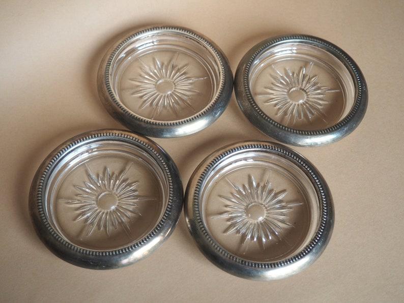"Sterling Silver Wood Vintage Round Coaster 3 3//4/"""