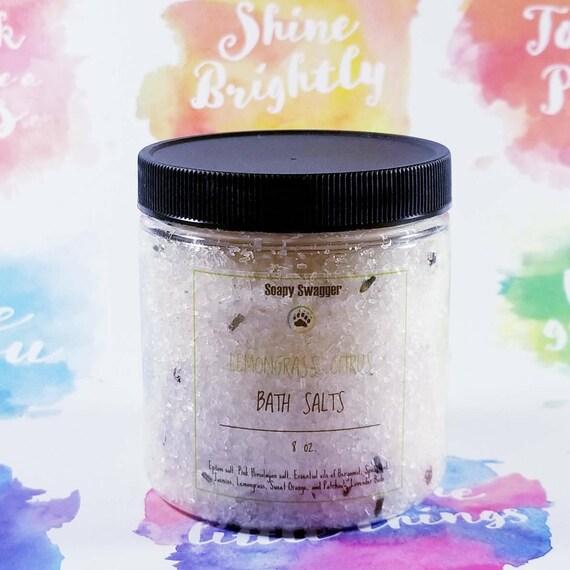 Energizing Lemongrass Citrus Bath Salt - Bath Soak - Detox Salts - 8 oz.
