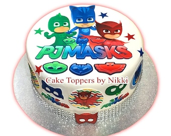 22 Pc PRECUT ICING PJ Masks Cake Decoration Set Toppers Great For Themed Cakes