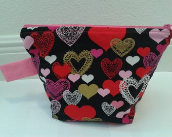 Valentine's Hearts Zipper Project Bags