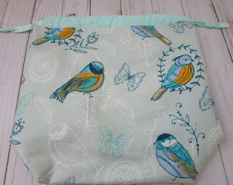 Drawstring Project Bag with Birds and Butterflies