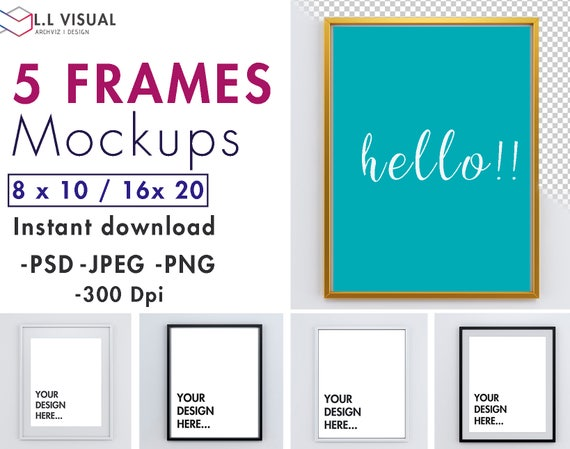 8 x 10 / 16 x 20 Vertical Frame Mockup Styled Stock | Etsy