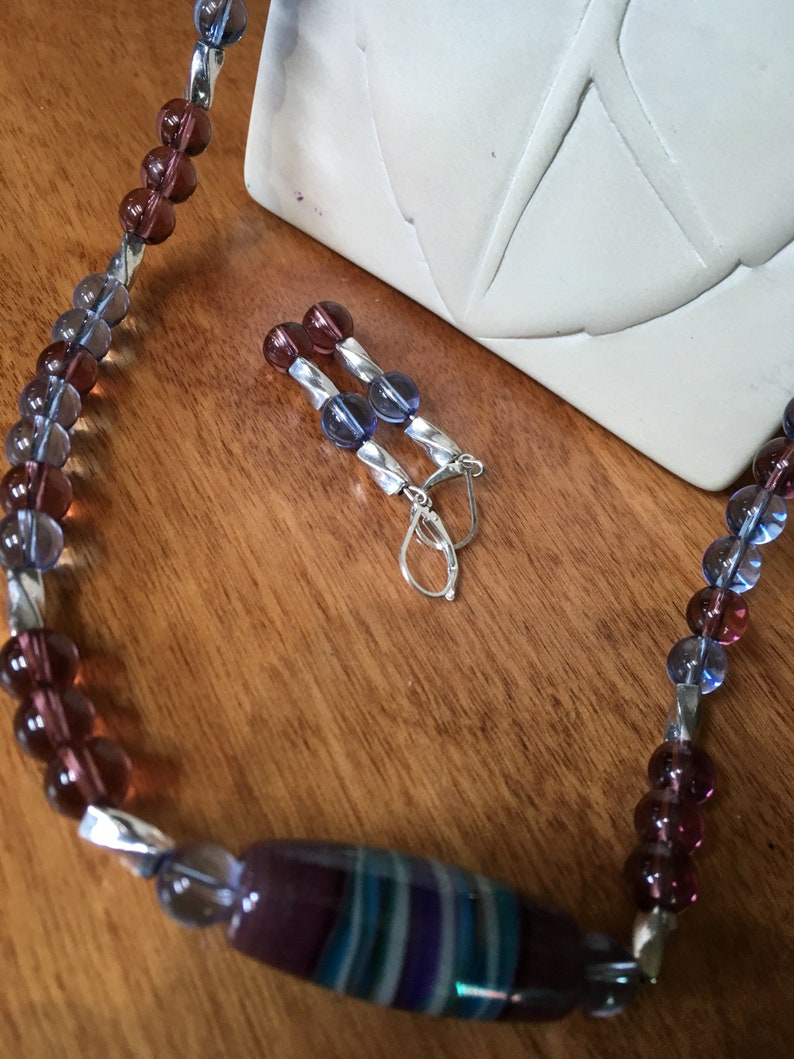 Ceramic statement center piece. Beautiful purple and blue quartz 20 necklace with matching 1 12 long earrings