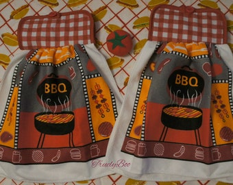 BBQ themed hanging kitchen dish towel set of two