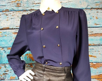 Fab nautical style 80s blouse, size 10 to 12.