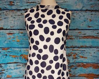 Fabulous 60s polka dot shift dress, size 12.