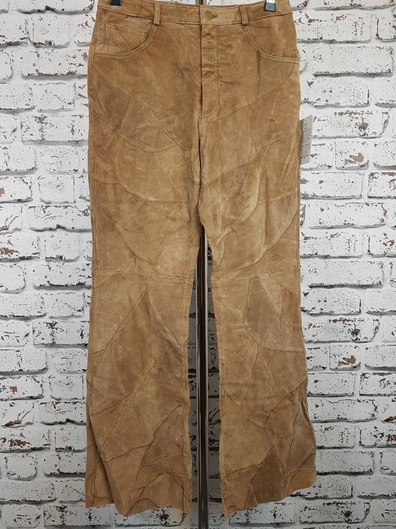 90s unworn patchwork suede trousers, size 8 to 10.