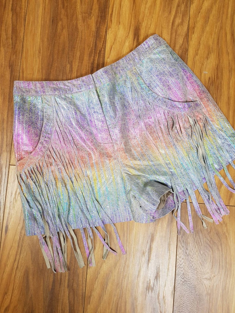 60s  70s style suede fringe shorts size 10.