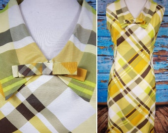 60s checked shift dress size 16 to 18.