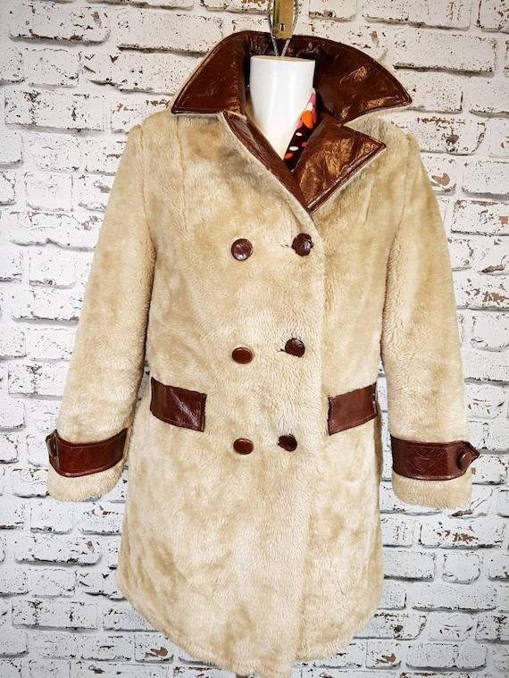 Fabulous 60s faux fur ( teddy bear)mini  coat, siz