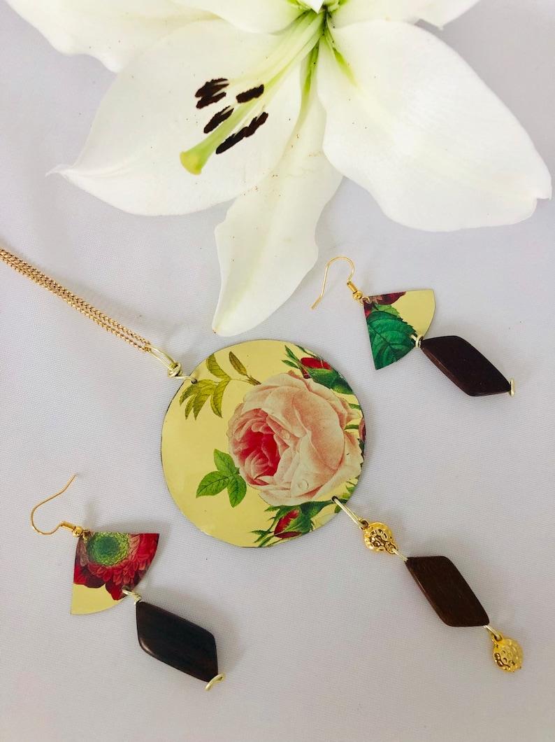 Jewelry setrecycled tin jewelry wood and tin jewelryrecycled jewelryfloral jewelryvintage tin jewelrylong necklaceboho jewelry