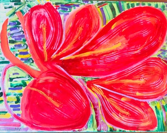 "Red Beauty-24 x 18""-acrylic painting-stretch cotton canvas-nature-flower-red-vivid-primitive-impressionist-hope-joy-spiritual"
