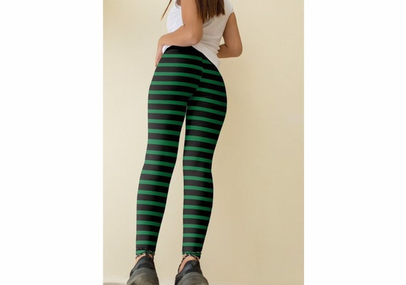 fd1b0592891ce Witch Leggings Green Striped leggings green and black   Etsy