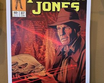 11x17 Cr Alien VS predator VS Indy crossover Vintage Marvel Further Adventures of Indiana Jones comic cover style art tributE