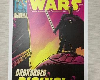 11x17 Star Wars Mandalorian Darksaber Rising moff Gideon VINTAGE comic cover style art tribute