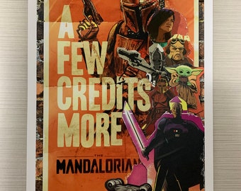 SW Mandalorian art print 11x17 illustration collage-style printed out on high quality card stock. Rich vibrant colors. Please see pics