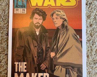 11x17 Star Wars the Maker George Lucas - new hope Luke Skywalker Mark hamill behind the scenes VINTAGE comic cover style art tribute