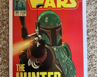 11x17 Star Wars Mandalorian Boba Fett  the Hunter! VINTAGE comic cover style art tribute