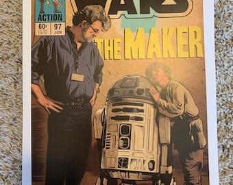 11x17 Star Wars the Maker George Lucas - phantom menace anakin Skywalker behind the scenes VINTAGE comic cover style art tribute