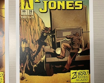 11x17 Poster (Part 3 of 3 variant) Vintage Marvel Further Adventures of Indiana Jones comic cover style art tribute Zorro rides again