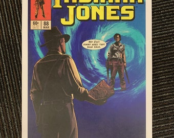 11x17 Ash Army of Darkness Evil Dead crossover Vintage Marvel Further Adventures of Indiana Jones comic cover style art tribute