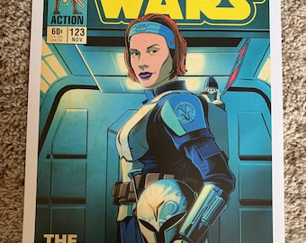 11x17 Star Wars Mandalorian Bo-Katan katee Sackoff v1 VINTAGE comic cover style art tribute