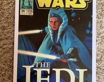 11x17 Star Wars Mandalorian Ahsoka Tano  the Jedi! VINTAGE comic cover style art tribute