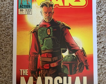 """11x17 Star Wars Mandalorian """"the Marshal"""" Timothy Olyphant  VINTAGE comic cover style art tribute"""