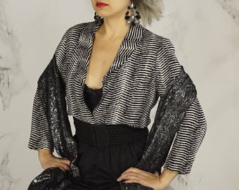 Vintage Open Front Black and White Jacket | 80's Textured Rayon Blazer | S | M