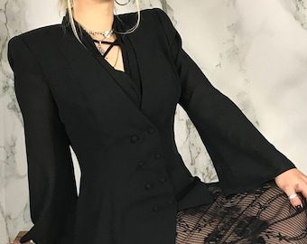 Vintage 90's Vampira Top | Double Breasted Blouse | Sheer Bell Sleeves | M