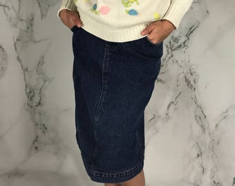 Vintage Lee Denim Skirt | 3/4 Length | Pencil Skirt | S | M