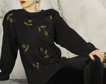 Vintage Over-sized Black & Gold Beaded Pullover | Holiday Sweater |  Ugly Sweater | S | M | L