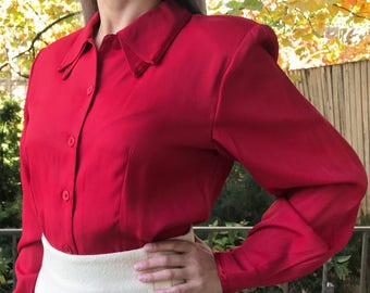 Vintage 70s Red Rayon Blend Blouse | Layered Collar | Pointed Hem | S | M