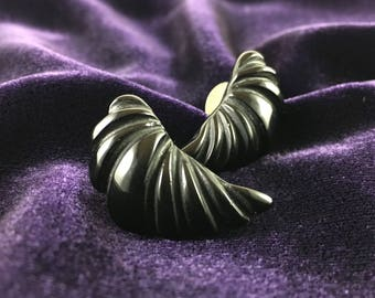 Vintage 80's  Black Onyx Wing Statement Stud Earrings