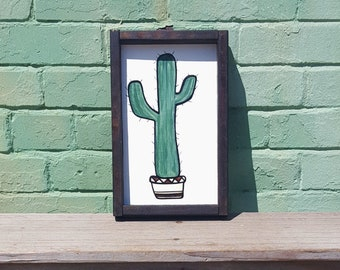 Framed Cactus Wood Sign   Hand Painted   Rustic