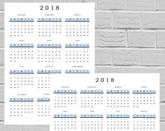 2018 Year At a Glance Calendar