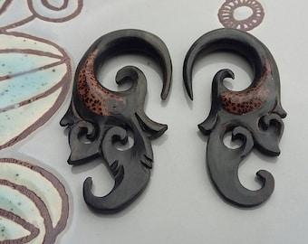 6g/ 2g/ Hanging Gauged Earrings/ Coconut Wood Gauges/ Wooden Inlay/ Gauge/ Plugs/ Body Jewelry